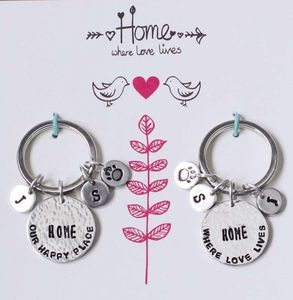 Pair Of Personalised Home Keyrings In Gift Box
