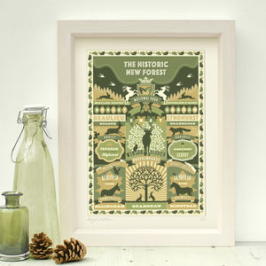 Hampshire 'New Forest Print' - maps & locations