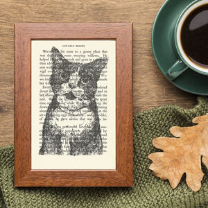 Cat Screen Print On Vintage Book Page