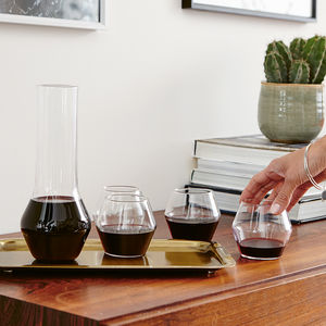 Four Handblown Modern Wine Glasses