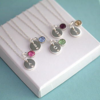 Crystal Initial Birthstone Necklace