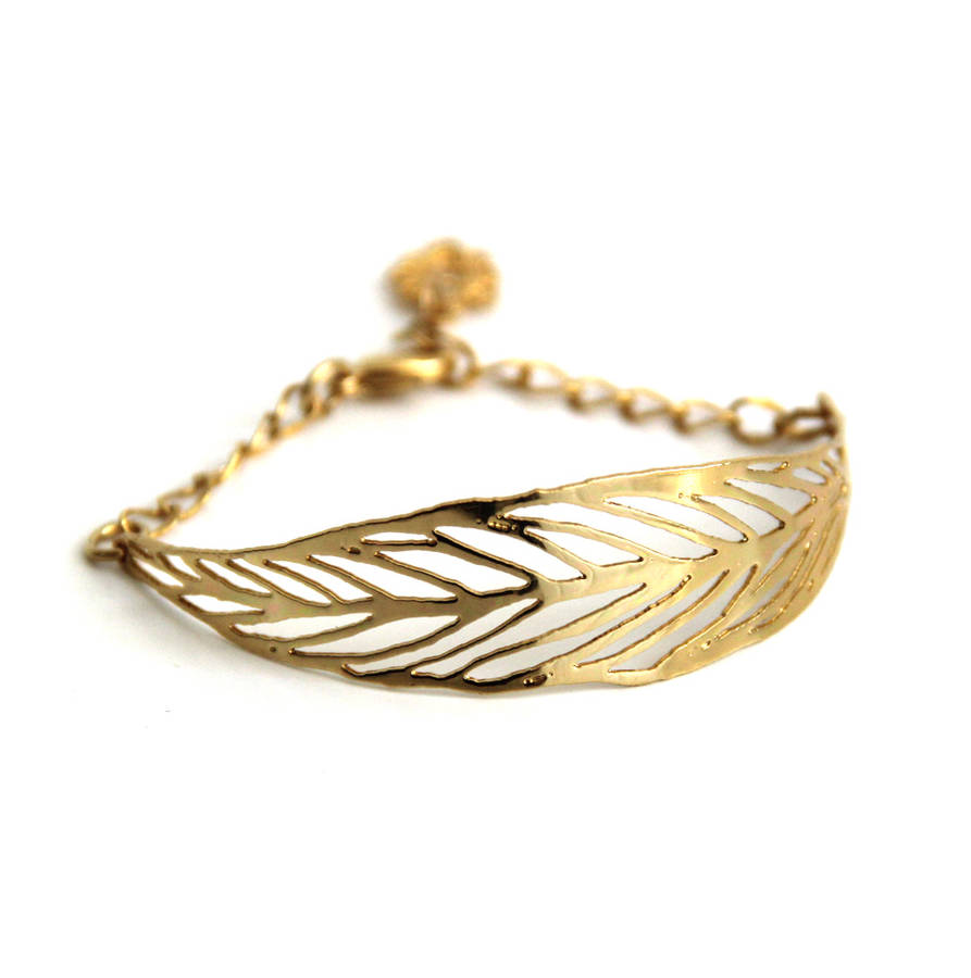 Gold Or Silver Leaf Bracelet