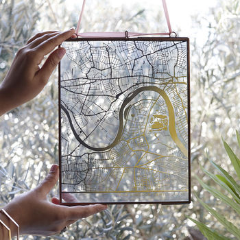 Metallic Personalised Map In Glass Frame