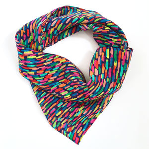 Silk Printed Scarf / Tuti Fuitti Strokes / Gift For Her