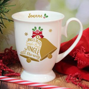 Bone China Jingle Bells Personalised Mug - mugs