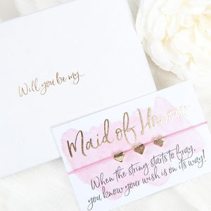 Will You Be My Maid Of Honour Gift Boxed Wish Bracelet - bridesmaid accessories