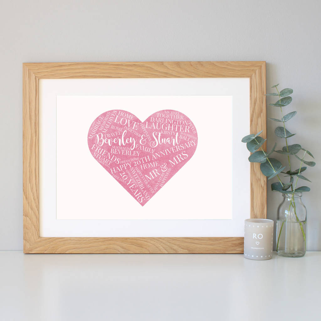Personalised Watercolour 20th Wedding Anniversary Gift