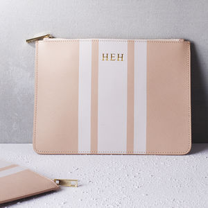 Personalised Saffiano Leather Stripe Pouch - for her