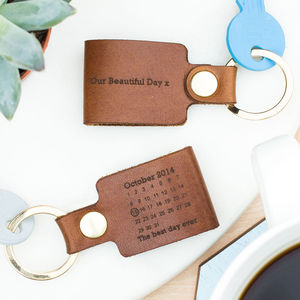 Personalised Never Forget Date Leather Keyring - keyrings