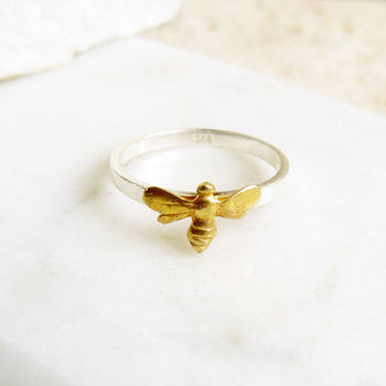 Bee Sterling Silver And Gold Vermeil Charm Ring
