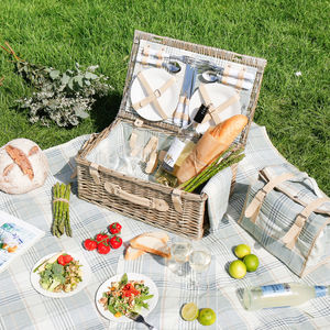 Personalised Devon Check Four Person Picnic Hamper - garden sale