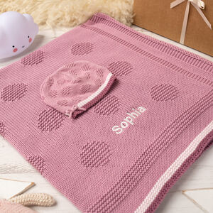 Girls Spot And Bow Baby Blanket And Hat Set