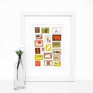 Jersey Stamps, Illustrated Giclée Wall Art Print - baby's room
