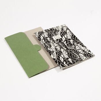 A5 Leaf Pattern Notebook With Plain Pages And A Folder