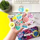 Colourful Vinyl Sticker Sheet Happiness Stationery