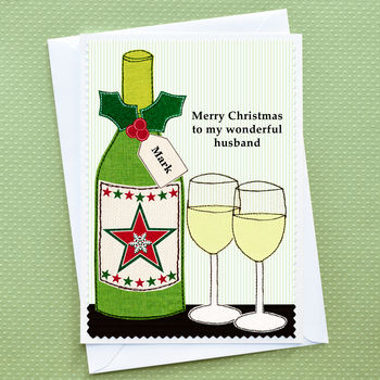 Personalised wine Christmas Card