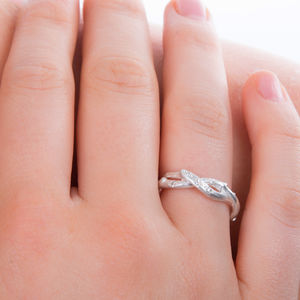 Silver Two Strand Diamond Set Ring - jewellery