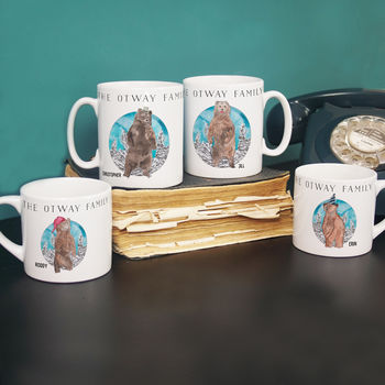Personalised Bear Accessories Family Mug Set