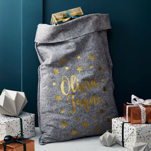 Personalised Grey Felt 'Stars' Christmas Sack