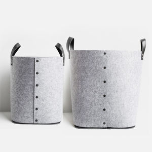 Grey Button Up Felt Storage Bag - log baskets