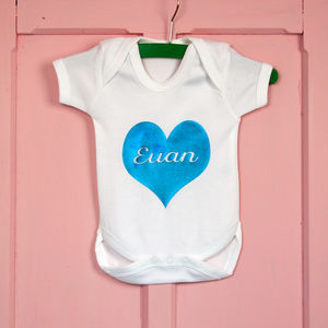 Personalised Metallic Heart Baby Grow