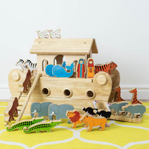 Painted Animals Wooden Noahs Ark - christening gifts