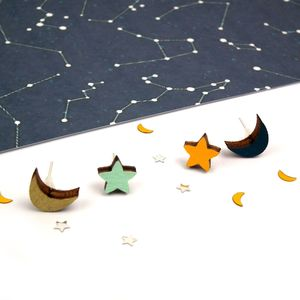 Moon And Star Earrings - earrings
