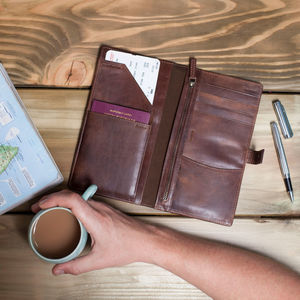 Personalised Vintage Leather Travel Wallet - gifts under £25