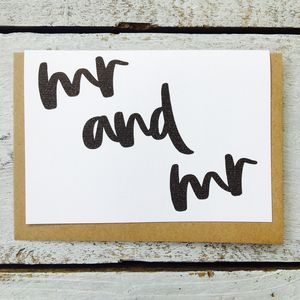 'Mr And Mr' Mono Flow Card - engagement cards