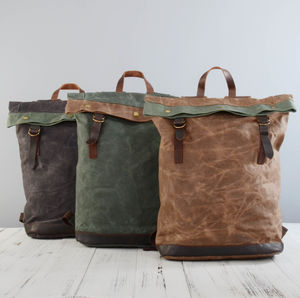 Waxed Canvas Bucket Rucksack - summer sale