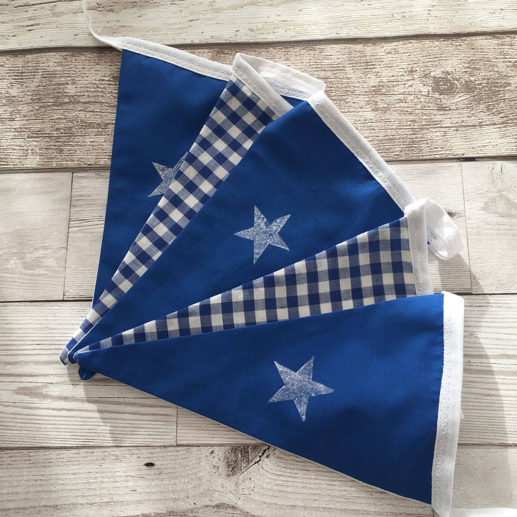 Hand Printed Blue Star Bunting