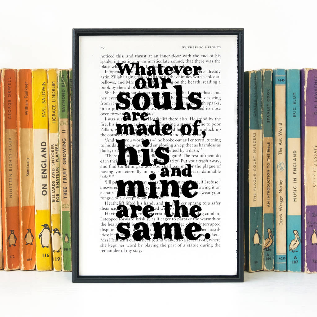 Slam Book Cover Page Quotes: Wuthering Heights 'whatever Our Souls' Wedding Print By