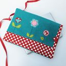 Laptop Case In Soft Wool Fabric Flower Design