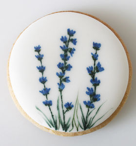 Lavender Hand Painted Iced Cookies Set Of Eight - biscuits and cookies