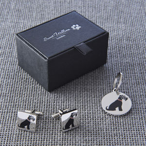 Daddy And Me Black Schnauzer Cufflinks And Dog Tag Set