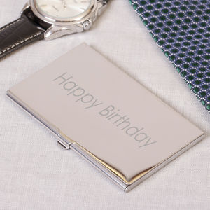 Personalised Mirrored Steel Business Card Holder