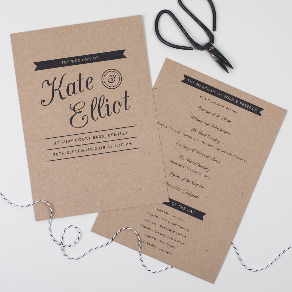 Kraft Stamp Wedding Order Of The Day Card By Pear Paper Co