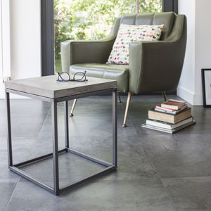 Concrete Perspective Side Table - living room