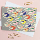 Multi Set Of Eight Bird Print Thank You Cards