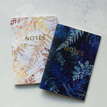 Cyano And Snowflake Ferns Notebook Set With Gold Foil