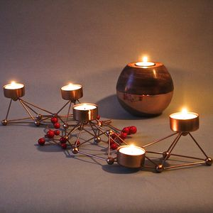 Linear Geometric Copper Tealight Holder - votives & tea light holders