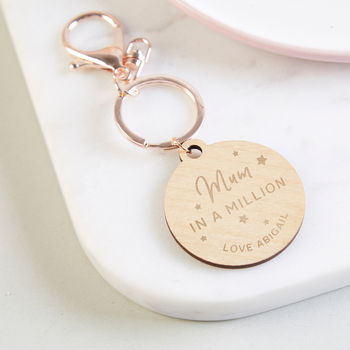 Mum In A Million Rose Gold Keyring