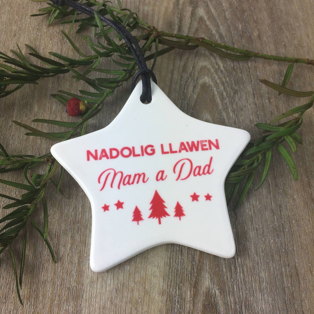 welsh mum and dad christmas decoration - Dad Christmas Ornament