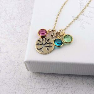 Gold Family Birthstone Tree Necklace