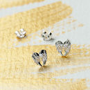 Petite Angel Wing Stud Earrings In Sterling Silver
