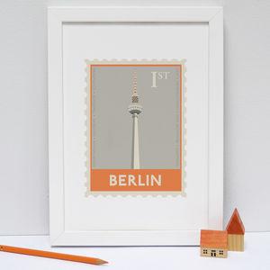 Berlin Stamp Print Orange - maps & locations