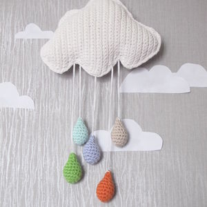 Hand Crochet Cloud And Rain Drops - baby's room