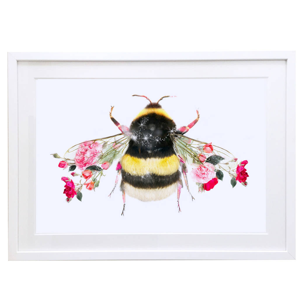 Very bumble bee botanical art print by lola design ltd  PK08