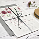 Personalised Marsala Floral Wedding Invitation Set