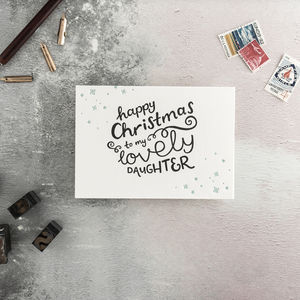 'To My Lovely Daughter' Letterpress Christmas Card - christmas